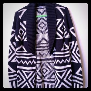 Blue and white winter cardigan